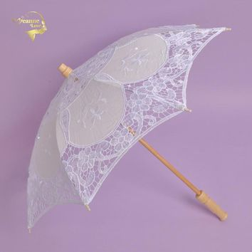 White Handmade Embroidered Lace Parasol