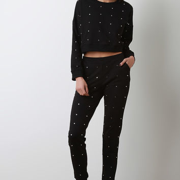 Stud Embellished Crop Top With Jogger Pants Set | UrbanOG