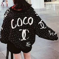 CHANEL Trending Women Loose Letter Print Long Sleeve Zipper Coat(2-Color) Black I