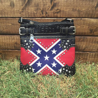 Studded Rhinestone Rebel Flag Crossbody Purse