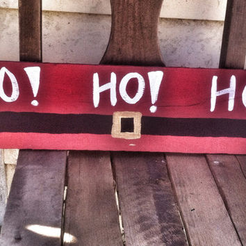 Christmas decor-santa belt-reclaimed wood door hanger