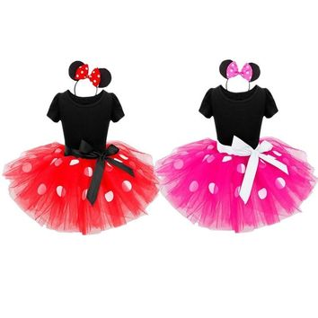 Cool 2018 Halloween New kids dress mouse princess cosplay costume infant clothing Polka dot baby clothes birthday girls dressAT_93_12