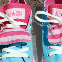 Studded Blue and Pink Converse