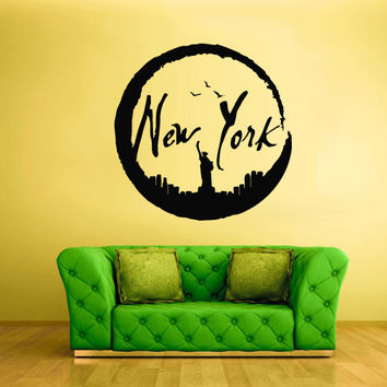 Wall Vinyl Sticker Decals Decor Art Bedroom Design Mural City Town New York Statue Liberty Symbol (z2745)