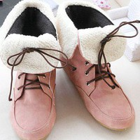 Wholesale Fashion Fuzz Lapel Strapped Mid-Length Boots Pink