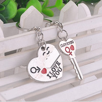 Hot Sale Fashion Keyring Key reative Key Chain Zinc Alloy Silver Plated Lovers Gift Couple Heart Keychain
