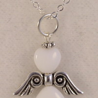 Angel02 Glass Beads and Sterling Silver Angel Wings on a Sterling Silver 18 inch Chain