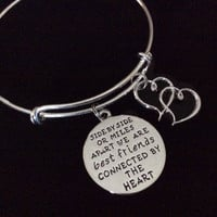 Best Friends Connected by The Heart Silver Expandable Charm Bracelet Adjustable Bangle Trendy Gift BFF