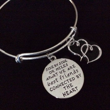 Best Friends Connected By The Heart Silver Expandable Charm Bracelet Adjule Bangle Trendy Gift Bff