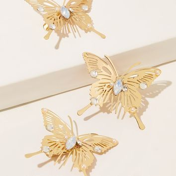 Metallic Butterfly Design Hair Clip 3pcs