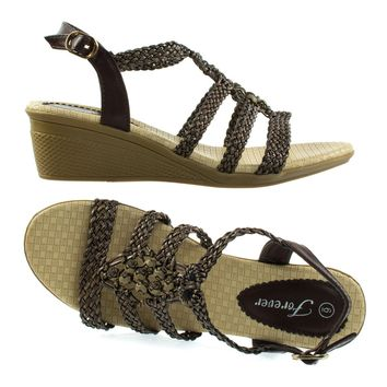 Paramount08 Brown By Forever Link, Espadrille Woven Open Toe Wedge Sandal w Beaded Gladiator Cage Strap