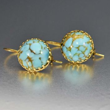 Turquoise Cabochon Vintage 14K French Earrings