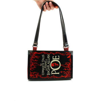 Edgar Allan Poe Book Purse - Decadence book clutch or bookpurse - Black & Red handbag