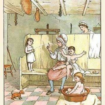 Maid washes the Babies in the laundry room (Canvas Art)