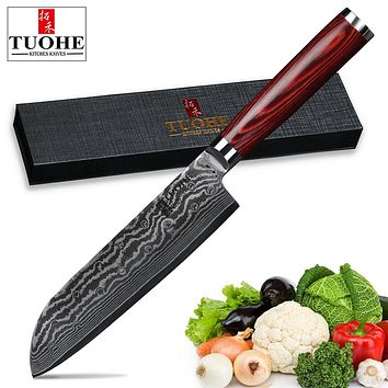 TUOHE 7 inch Chef knives Damascus steel Slicing Knives 67layers Santoku Knife VG10 steel core Meat/vegetable knife Cleaver