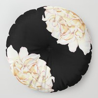 Roses - Lights the Dark Floor Pillow by drawingsbylam