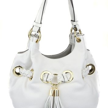 Michael Kors Women's White Braided Grommet Leather Shoulder Purse Bag Ret $428