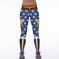 NEW 88005 Sexy Girl Women Comics The Avengers Wonder Woman Old Glory 3D Prints High Waist Running Fitness Sport Leggings Pants