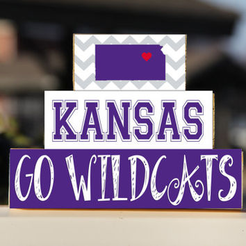 Kansas State  K-State - Trio Wood Blocks Stack- Royal Purple - Home Decor/Gift - Wooden Blocks