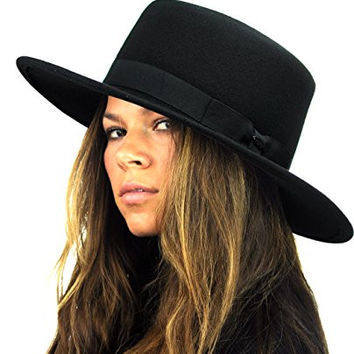NYFASHION101 Wool Wide Brim Porkpie Fedora Hat w/ Simple Band Accent - Black