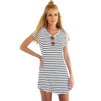 Striped O Neck Mini Sun Dress