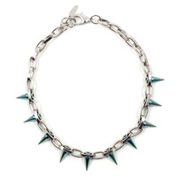 Future Perfect Single Row Spike Choker - Silver/ Blue Spikes