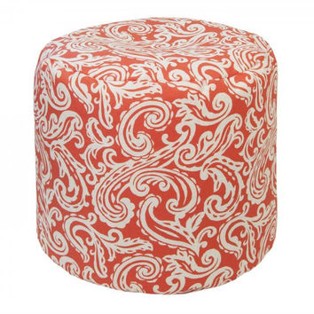 Outdoor / Indoor Weather Resistant Ottoman (Colima Coral) (17H x 19W x 19D)