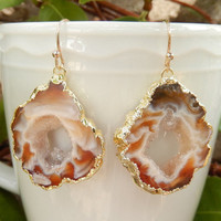 Geode Slice Earrings 14K Gold Agate Druzy Freeform Dangle Rock Crystal Quartz Boho - Free Shipping Jewelry