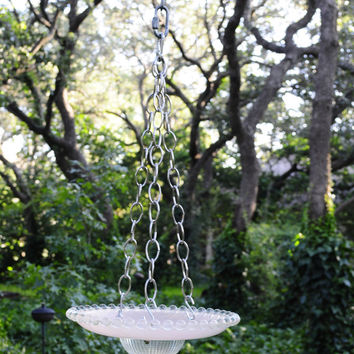 Pink and clear glass, bird feeder, bird bath created with repurposed vintage art deco light shade.  Clear beaded hobnail rim.