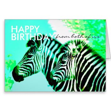 cute zebra birthday card from both of us