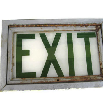 Vintage Exit Sign, Elementary School Exit Sign, Exit Sign
