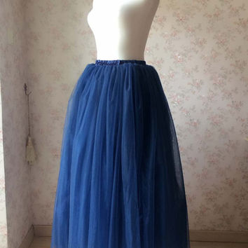 Maxi Skirt in navy blue long tulle Skirts women tutu skirt Plus Size Tutus blue wedding  -magic1668