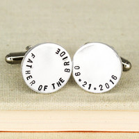 Father of the Bride Cuff Links - Gifts for Him - Custom Wedding Date Cufflinks - Aluminum Cuff Links