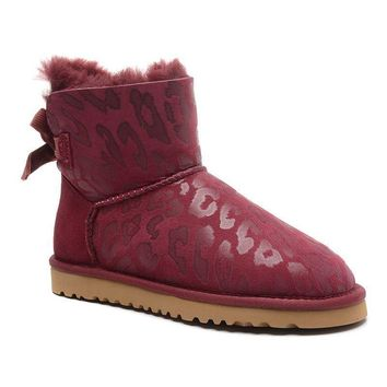 ESBON UGG 1006058 Bowknot Leopard Women Fashion Casual Wool Winter Snow Boots Wine