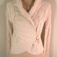 Free People Sweater chunky knit collared wrap one button cream sz Small