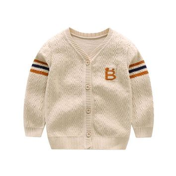 New Cotton Baby Sweater Cartoon Long Sleeve Button Sweaters Single Row Button Cardigan Autumn Winter Crochet Baby Boy Sweaters