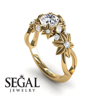 Unique Engagement Ring Diamond ring 14K Yellow Gold Flowers And Branches Art Deco Edwardian Ring White diamond - Katherine