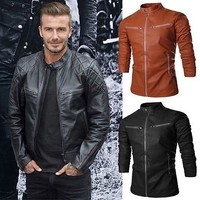 Black Motorcycle David Beckham Genuine Real Leather Biker Jacket - All Sizes....
