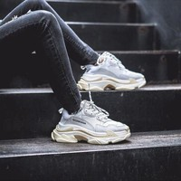 BALENCIAGA Triple S Men and Women White SNEAKER TRAINER Shoes