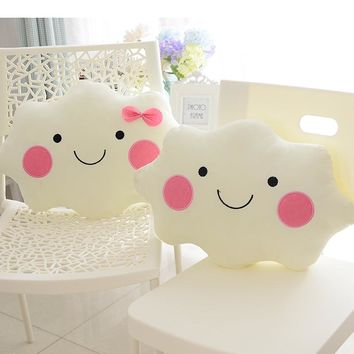 2016 New Arrival 35CM Kawaii Soft Lovely White Smiley Face Bow Cloud Pillow Cotton Stuffed Cushion Plush