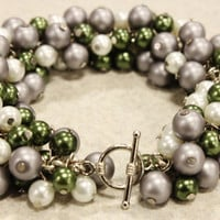 Silver and Glass Pearl Cluster Bracelet - Green, Silver and White Glass Pearls Secured with a Silver Toned Toggle Clasp