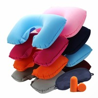 3PCS/Set U-Shape Travel Pillow Airplane Inflatable Neck Accessories Comfortable Car Pillows Eye Mask Earplug Sleep Home Textile