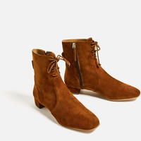 FLAT LEATHER LACE UP ANKLE BOOTS DETAILS