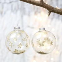 Glass Gold Glitter Bauble
