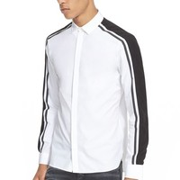 Men's Neil Barrett Trim Fit Stripe Sleeve Sport Shirt,