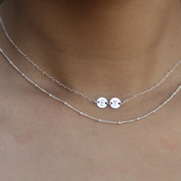 Mini initial 2 - Two/Three tiny initial necklace in silver . custom hand stamped . dainty necklace . initial choker