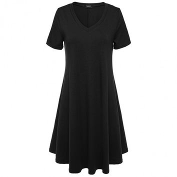 Women Short Sleeve V-Neck Casual Loose Fit Mini Tunic Dress