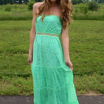Sweet Baby Maxi Dress: Apple Green