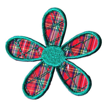 Green Plaid Daisy Patch