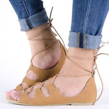 Women's Sandals Gladiator Lace Up Open Toe Flats Sandal Faux Nubuck New